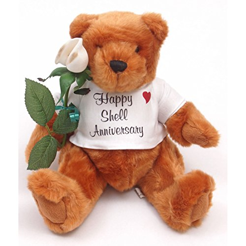Happy 17th Wedding Anniversary Teddy Bear with Shell Rose Gift