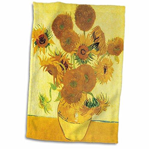 3D Rose Sunflowers by Vincent Van Gogh Towel, 15