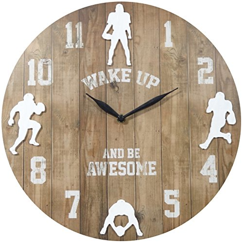 NIKKY HOME 14 Inches Wooden Football Round Wall Clock