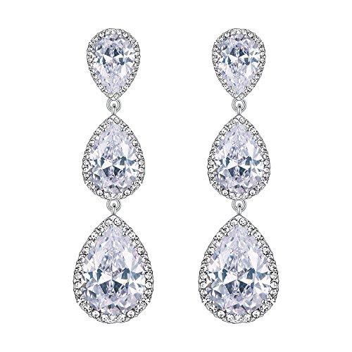lver-Tone 3 CZ Teardrop Dangle Earrings Clear Austrian Crystals ()