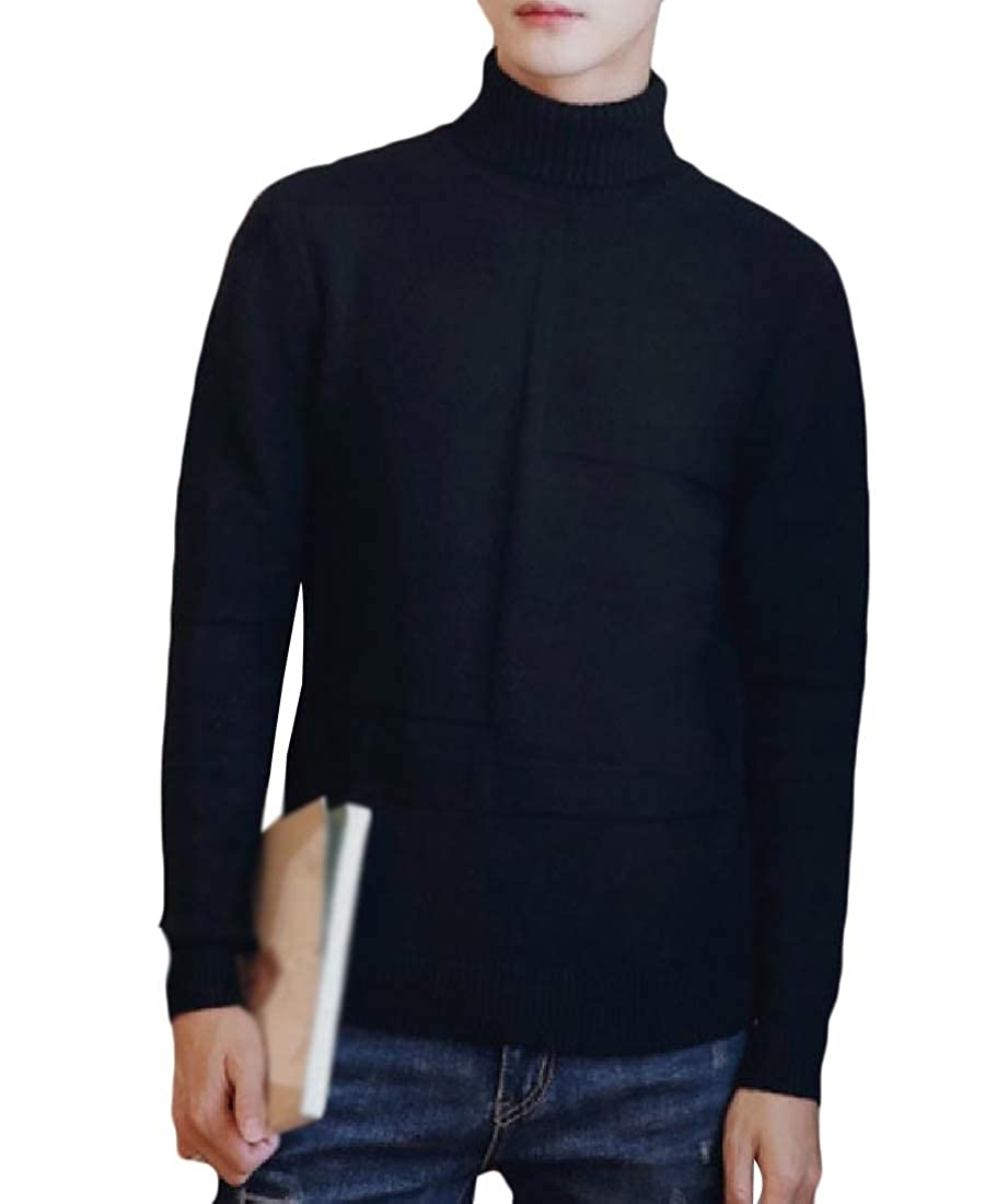 Mfasica Mens All-Match Solid Turtleneck Stylish Students Pullover Sweater