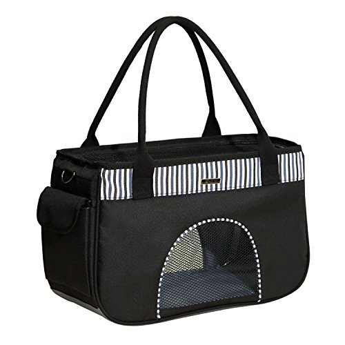"""Goldwheat Pet Carrier Travel Bag for Dogs & Cats,Soft-Sided Airline Approved Dog Purses Handbag with Shoulder Strap-16""""x7""""x10""""(Black)"""