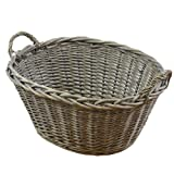 JVL Chunky Home Oval Washing Clothes Laundry Basket with Loop Handles, Willow, Natural