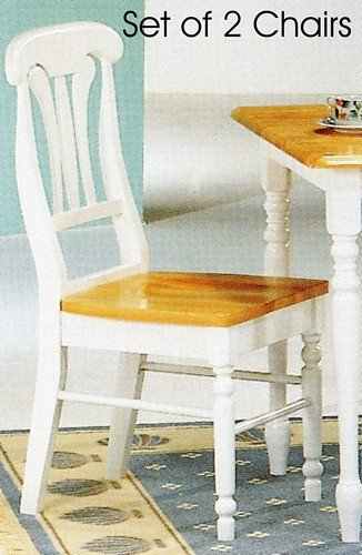 Set of 2 Natural & White Finish Lyre Back Dining Side Chairs/Chair ()