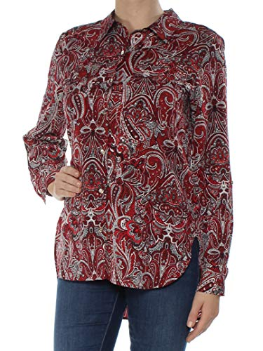 Tommy Hilfiger Women's Plus Paisley Button Down Shirt (Red, XX-Large)