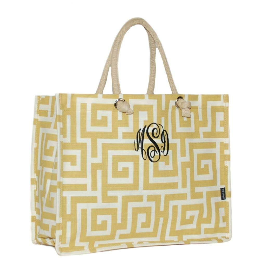 Personalized Gold Geometric Juco Shoulder Tote Bag