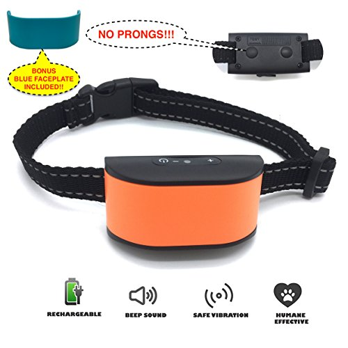 Googoo [2018 New Chip Design] NO BARK NO SHOCK NO HARMFUL PRONGS Humane Rechargeable & Water Resistant Dog Collar - Extra Faceplate - Durable & Effective - Sound & Vibration (Prong Design)