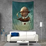 Anhuthree Fantasy Tapestry Wall Tapestry Surreal Sky Scenery with Steampunk Airship Fairy Sci Fi Stardust Space Image Art Wall Decor 51W x 60L INCH Teal and Brown
