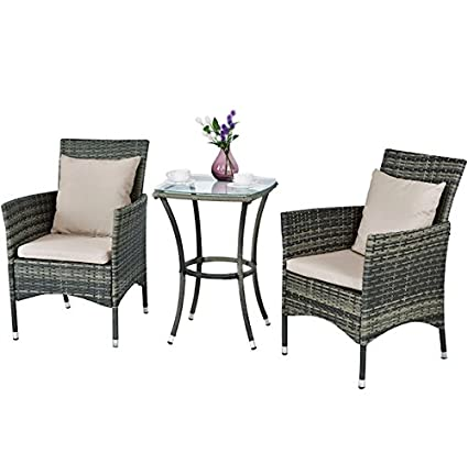 3PCS Patio Rattan Set With Waterproof Cover Cushion Chair Sturdy Iron Frame Glass  Top Coffee Tea
