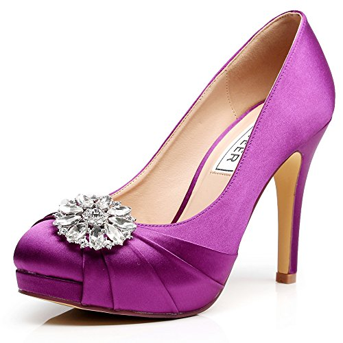 Luxveer High Heel Women Shoes Satin Wedding Shoes With Rhinestone