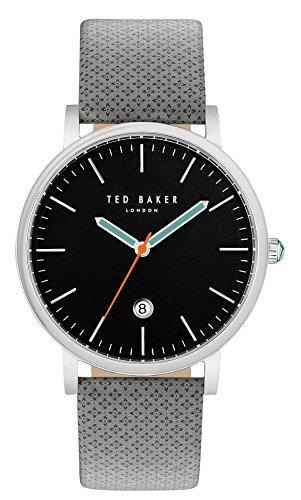 Ted Baker Men's 'GRAHAM' Quartz Stainless Steel and Canvas Dress Watch, Color Grey (Model: 10031493)