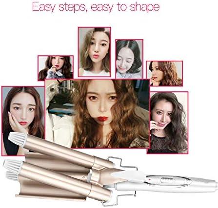 Hair Curler Triple Barrel Hair Curling Wand Ceramic Triple Barrel Hair Curler Roller Corrugation Hair Waver Styling Tools  yrSo9