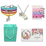 Unicorn Gifts for Girls - Unicorn Goodie Bag, Rainbow Bracelet/Hair Ties/Unicorn Necklace/Gift Card/Gift Bag