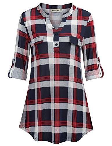Nandashe Tartan Shirts Women, Ladies V-Neck Dress Maternity Tops and Blouses Work Office Fashion 2018 Shirts Long Sleeve Floral Print Clothing Sweatshirts Navy White Red M