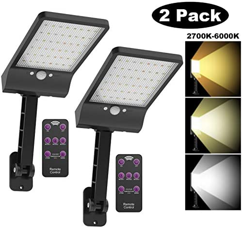 highydroLED Solar Lights Outdoor with Remote and Color Temperature Adjustment 2700K to 6000K, 48LED Solar Motion Sensor Light with 3 Modes,Waterproof IP65 Night Light for Garden Garage Pack of 2