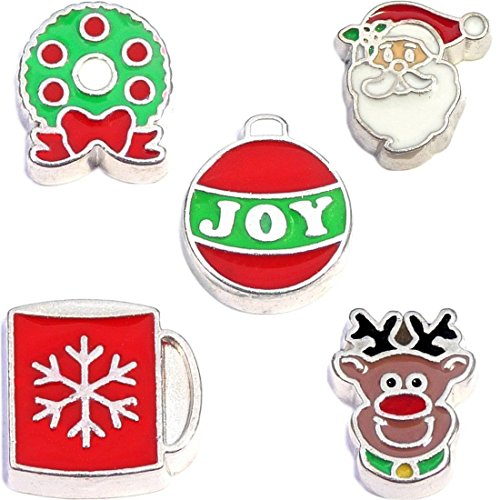 Holly Jolly Charm - Holly Jolly Holiday Christmas Charm Set for Floating Lockets Jewelry