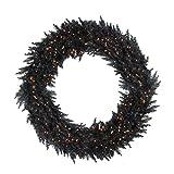 "Vickerman 48"" Pre-Lit Black Ashley Spruce Artificial Christmas Wreath - Clear Lights"