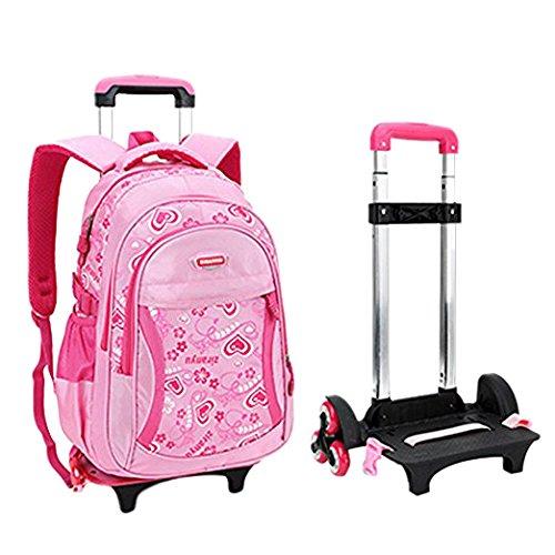 Fellibay Rolling Backpack Kids Backpack 3 Wheels Kids Trolley Schoolbag Girls Backpack