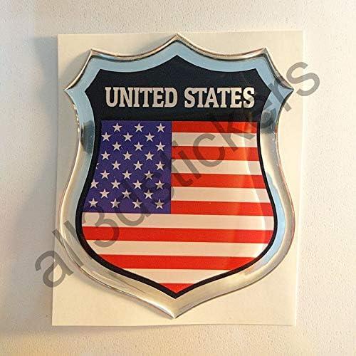 All3DStickers Autocollant /États-Unis USA Embl/ème Adh/ésif /États-Unis USA Drapeau 3D R/ésine Voiture Moto