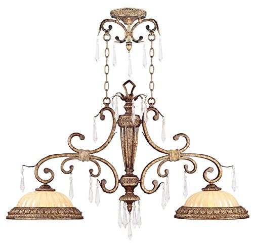 Livex Lighting 8882-65 Island Pendant with Crystal and Hand Crafted Gold Dusted Glass Shades, Vintage Gold Leaf ()
