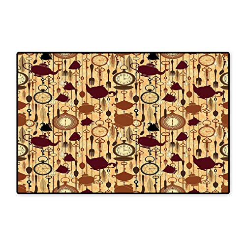 Tea Party Door Mat Small Rug Breakfast Time Items Teacup Forks Spoons Chain Together Victorian Style Print Bath Mat for Bathroom Mat 16