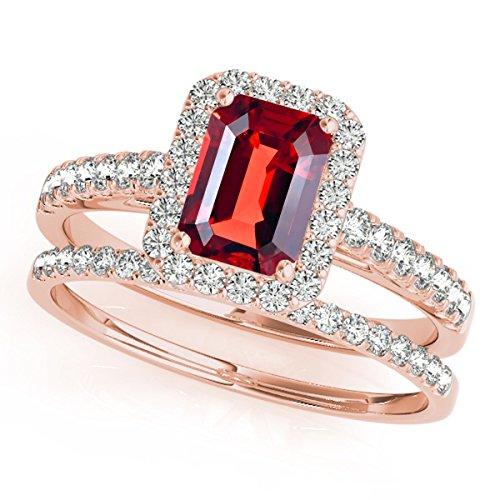 0.85 Ct. Ttw Diamond And Emerald Shape Garnet Bridal Set Ring In 10k Rose Gold ()
