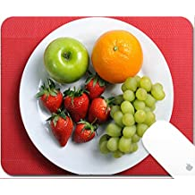 Luxlady Natural Rubber Gaming Mousepads plate with mixed fruits in healthy nutrition concept on red mat 9.25in X 7.25in IMAGE: 27626887