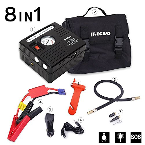 Portable 12V Jump Starter Battery Pack with Air Compressor, Auto Battery Booster with Jumper Cables 13000 mAh Power Bank from JF.EGWO, Black