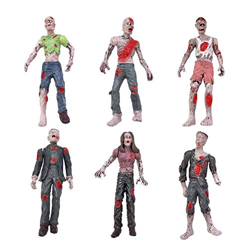 HAPTIME 6 Pcs Zombie Action Figures 3.75 inch Detailed Walking Dead Toys Terror Corpse Dolls