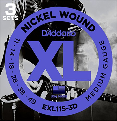 D'Addario EXL115-3D Nickel Wound Electric Guitar Strings, 3 Sets, Medium/Blues-Jazz Rock, 11-49, 3 (Guitar Electric Rock)