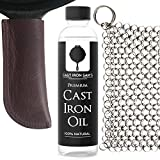 Extra Thick Top-Grain Leather Cast Iron Skillet Handle Cover, Stainless Steel Chainmail Scrubber and Cast Iron Seasoning Oil Kit.(3-piece kit)