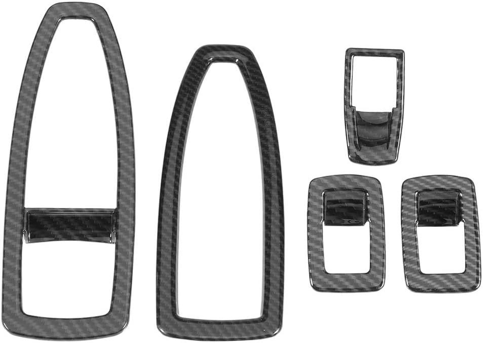 Acouto 5PCS Carbon Fiber Style Car Window Lift Button Frame Cover Trim Set for BMW 3 Series F30 13-18