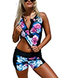 Xuan2Xuan3 Women Tankini Top Swimsuit Zipper Open Two Pieces Flower Print Pad Swimwear High Waisted Sporty Short Bottom Bathing Suit Plus Size,Medium