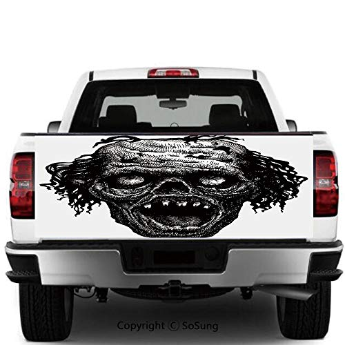 SoSung Halloween Vinyl Wall Stickers,Zombie Evil Dead Man Portrait Fiction Creature Scary Monster Graphic Cars Trucks Decorative Decal Sticker,55x15 Inches,Black Dark Grey -