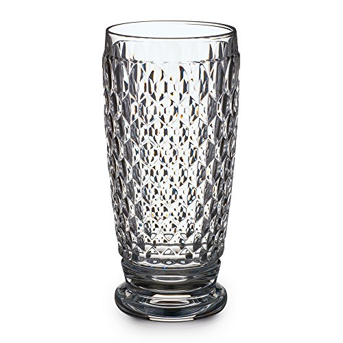 Villeroy & Boch Boston Clear Crystal Highball Glasses, Set of (Blue Glass Hobnail)