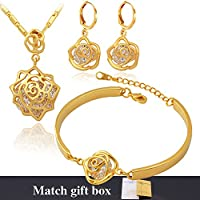 U7 Cubic Zirconia Jewelry Set Copper Based 18K Stamp Gold Plated Crystal Women Statement Wedding Necklace Bracelet Earrings