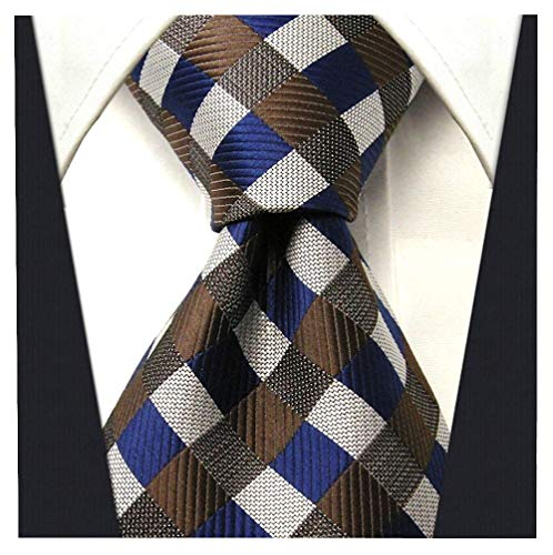 Gingham Plaid Ties for Men - Woven Necktie - Brown and Blue ()