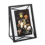 POPILION Modern Black Metal Prismatic Wire Photo Picture Frames, Display 4 x 6 Inch Photo With Glass Front For Desk Table Top