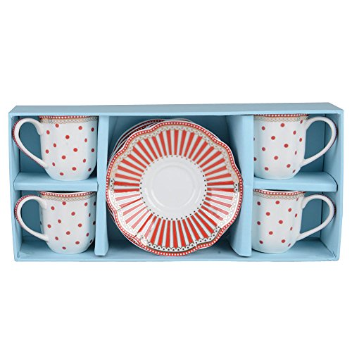 Grace Teaware Fine Porcelain Espresso Cup and Saucer Set of 4, 3-Ounce (Stripe Red)