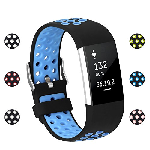 POY Replacement Bands Compatible for Fitbit Charge 2, Adjustable Breathable Wristbands with Air Holes Straps, Small Blue