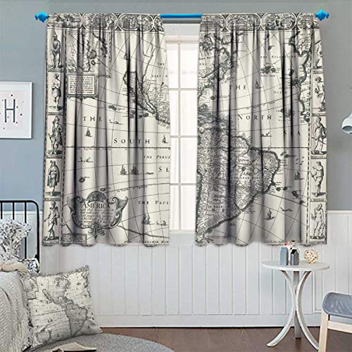 (Chaneyhouse World Map Waterproof Window Curtain Antique Map America in 1580s World in Medieval Time Ancient Era in Retro Style Blackout Draperies for Bedroom 72