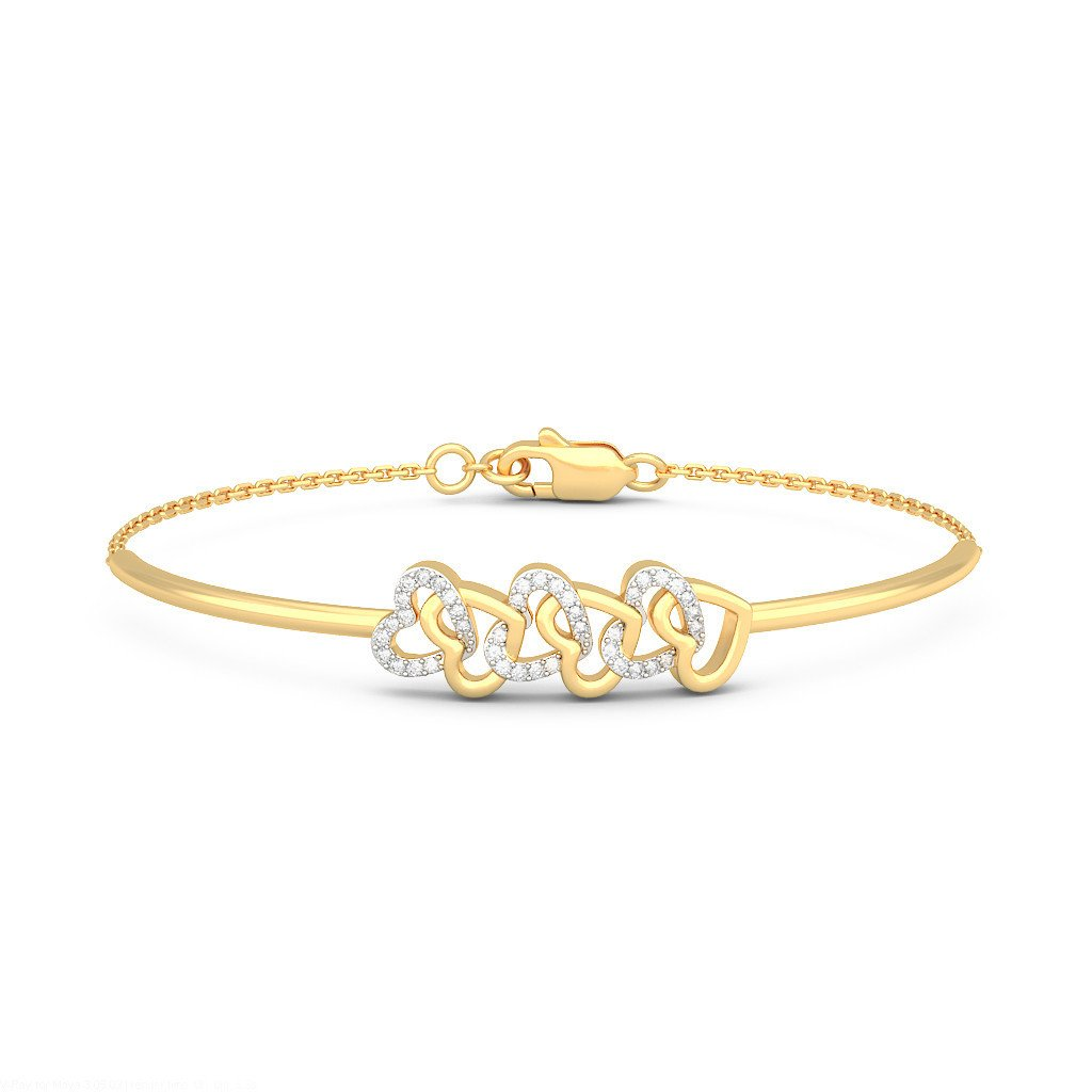 IJ| SI 8.25 inches 0.2 cttw Round-Cut-Diamond 18K Yellow Gold identification-bracelets Size