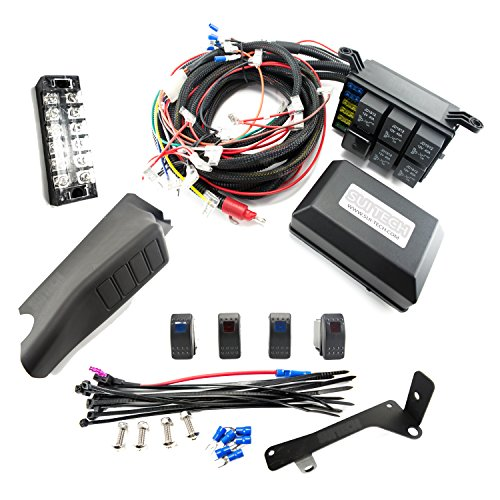 amazon com jeep jk control box 4 switch electronic relay system amazon com jeep jk control box 4 switch electronic relay system module wiring harness kit rocker switch mount for accessories and led off road