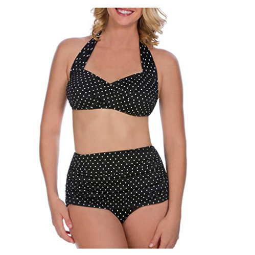 Suddenly Slim By Catalina Womens Slimming High-Waisted Bikini 2 Piece Set (Large, Black White Dot)