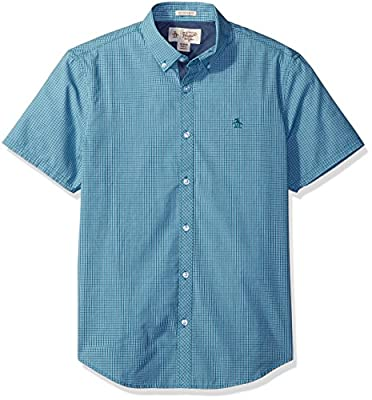 Original Penguin Men's Short Sleeve Button Down Collar Tri Color Gingham Shirt