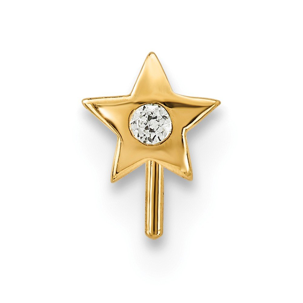 14k Yellow Gold Cubic Zirconia Star Nose Stud L-Shaped Nose Ring 22 Gauge