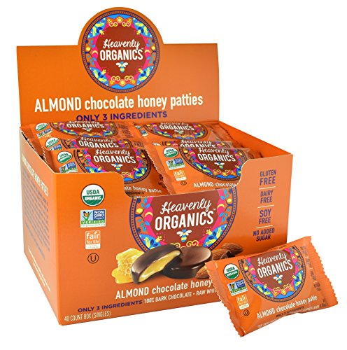 Heavenly Organics Almond Chocolate Honey Patties, (40 Singles) Made with 100% Organic Cocoa and 100% Organic Raw White Honey; Non-GMO, Fair Trade, Kosher, Dairy & Gluten Free, No Sugar Added