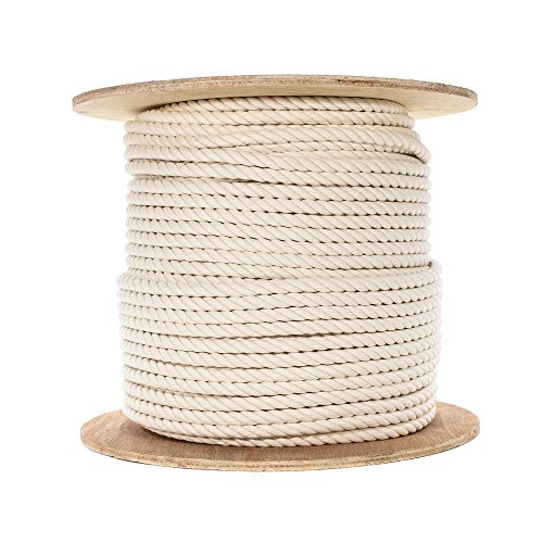 Natural Cotton Rope - Triple Strand (1/2 Inch) - 10 Feet Long ()