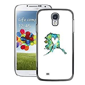 A-type Arte & diseño plástico duro Fundas Cover Cubre Hard Case Cover para Samsung Galaxy S4 (Heart Spring Minimalist Teal Mint White)