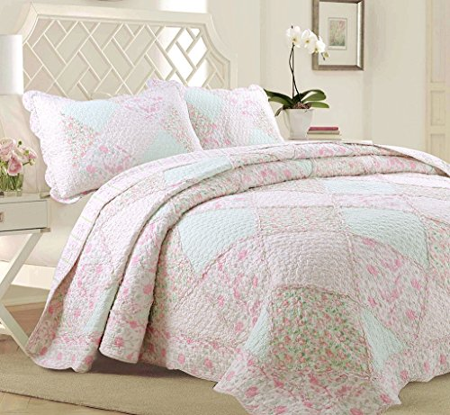 Cozy Line Home Fashions La Rosa Rêve Quilt Bedding Set, Floral Pink Green Rose Flower 3D Real Patchwork,100% Cotton Reversible Coverlet Bedspread Set, Romantic Gifts for Women (Queen - 3 Piece)